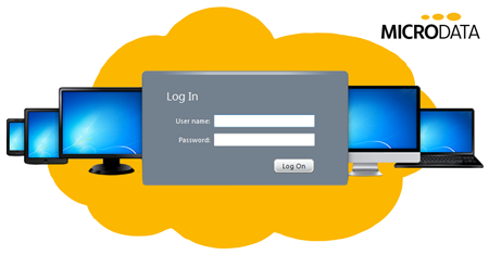Illustration af Cloud Hosting og login på Hosted Desktop
