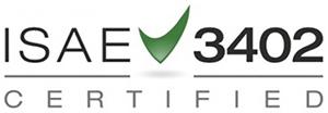Logo tilhørende ISAE-3402 standardisering omkring IT rådgivning