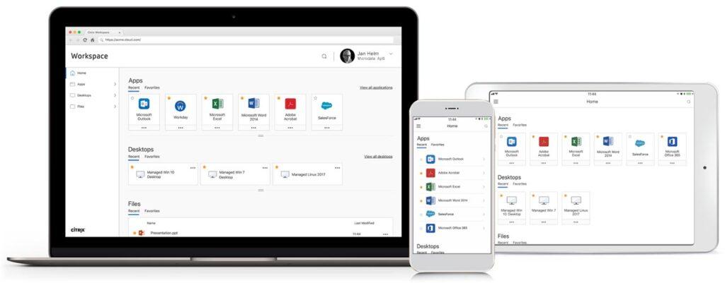 Billede af Citrix Workspace på notebook, telefon og tablet
