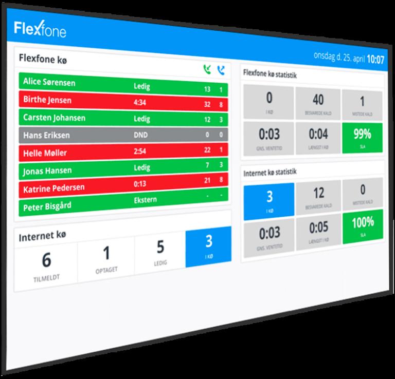 Billede af Flexfone telefon på storskærm