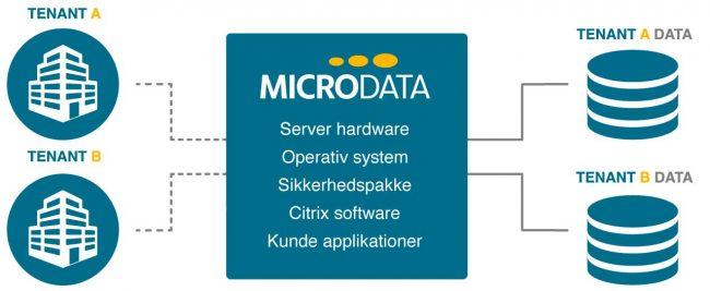 Grafisk visning af Microdata Multi-tenant Cloud hosting